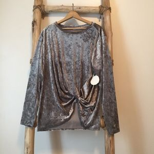 NWT Crushed Velvet Long Sleeved Gathered Top